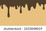 dripping chocolate ice cream... | Shutterstock .eps vector #1023048019