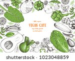 vegetables top view frame.... | Shutterstock .eps vector #1023048859