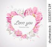 happy valentines day white... | Shutterstock .eps vector #1023057139