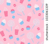 seamless pattern with ice cream ... | Shutterstock .eps vector #1023061339