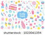 set of summer elements in... | Shutterstock .eps vector #1023061354