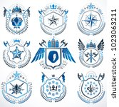 heraldic emblems with wings...   Shutterstock .eps vector #1023063211