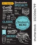 sandwich restaurant menu.... | Shutterstock .eps vector #1023066799