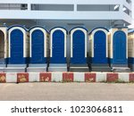 blue portable toilet cabins at... | Shutterstock . vector #1023066811