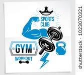 gym advertising poster. vector... | Shutterstock .eps vector #1023070321