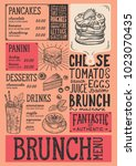 brunch restaurant menu. vector... | Shutterstock .eps vector #1023070435