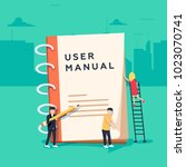 user manual flat style concept. ... | Shutterstock . vector #1023070741