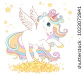 cute unicorn vector... | Shutterstock .eps vector #1023072841