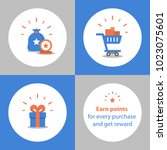 loyalty program  earn points... | Shutterstock .eps vector #1023075601