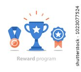 reward program  winner cup ... | Shutterstock .eps vector #1023077524
