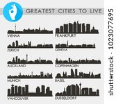 greatest cities to live skyline ... | Shutterstock .eps vector #1023077695