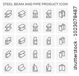 vector icon of steel beam and... | Shutterstock .eps vector #1023078487