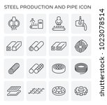 vector line icon of steel... | Shutterstock .eps vector #1023078514