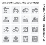 soil compaction and equipment... | Shutterstock .eps vector #1023078529