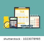concept tax payment. data... | Shutterstock .eps vector #1023078985