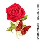 stylized golden shiny flowers... | Shutterstock . vector #1023079201