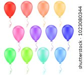 3d realistic colorful balloons... | Shutterstock .eps vector #1023080344