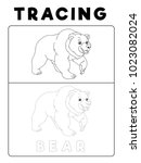 funny bear tracing book with... | Shutterstock .eps vector #1023082024