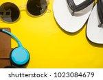 green and yellow office desk... | Shutterstock . vector #1023084679