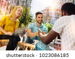 friendly colleagues. clever...   Shutterstock . vector #1023086185