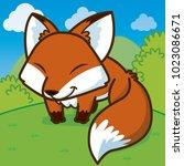 fox cartoon  cute vector   cute ... | Shutterstock .eps vector #1023086671