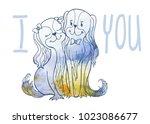 vector image sketch of loving... | Shutterstock .eps vector #1023086677