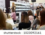 """Small photo of Rostov-on-Don, Russia 10-February: Master class training of a group of young manicure masters at the """"Sharm"""" exhibition in Rostov-on-Don, February 10, 2018."""