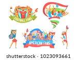 cheering happy crowds of... | Shutterstock .eps vector #1023093661