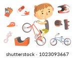 boy bmx bike rider  kids future ... | Shutterstock .eps vector #1023093667