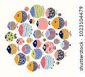 cute fish. around motif with... | Shutterstock .eps vector #1023104479