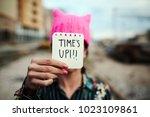 closeup of a young woman... | Shutterstock . vector #1023109861