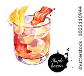 watercolor maple bacon cocktail ... | Shutterstock . vector #1023110944
