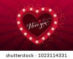 i love you lettering in heart... | Shutterstock .eps vector #1023114331