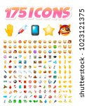 set of 175 realistic cute icons ... | Shutterstock .eps vector #1023121375