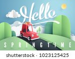 paper art of red car stop at... | Shutterstock .eps vector #1023125425