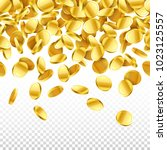 gold falling 3d coins on... | Shutterstock .eps vector #1023125557