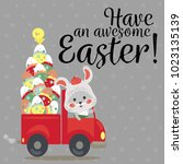 set of easter bunny drive car...   Shutterstock . vector #1023135139