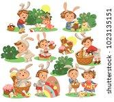 set of happy kids in bunny...   Shutterstock . vector #1023135151