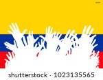 hands up silhouettes on a... | Shutterstock .eps vector #1023135565