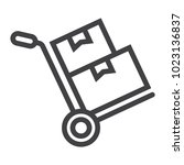 hand truck with cardboard boxes ... | Shutterstock .eps vector #1023136837