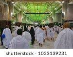 masjidil haram mecca january... | Shutterstock . vector #1023139231