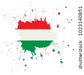 hungary flag. ink painted... | Shutterstock .eps vector #1023140851