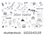 dinosaur party birthday...   Shutterstock .eps vector #1023142135