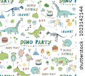 dinosaur party birthday...   Shutterstock .eps vector #1023142144