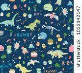 dinosaur party birthday... | Shutterstock .eps vector #1023142147