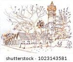 lighthouse in alleppey ... | Shutterstock . vector #1023143581