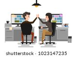 give me high five  two business ... | Shutterstock .eps vector #1023147235
