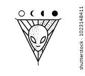 alien head illustration with...   Shutterstock .eps vector #1023148411