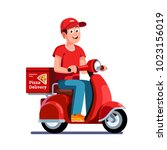 smiling pizza delivery courier... | Shutterstock .eps vector #1023156019