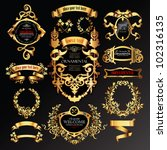 vector set of labels with gold... | Shutterstock .eps vector #102316135